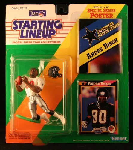 Andre Rison/Atlanta Falcons 1992NFL Starting Lineup Aktion steht & Exclusive NFL Collector Trading Card & Special Series Poster by Starting Line Up - Poster Trading Card