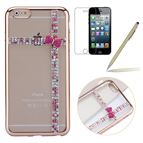 iPhone 6 Plus Hülle,iPhone 6s Plus Case,iPhone 6 Plus Bling Case - Felfy Ultradünne Transparent Gel TPU Silikon Diamond Skin Bling Glitte Kristall Schutzfolie Glitzer Silber Silikon Crystal Case Durch C15