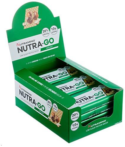 Nutramino Nutra-Go Protein Wafer/Proteinriegel (Low Sugar in Waffelform, 18% Eiweiß, wenig Zucker) Hazelnut Riegel, 1er Pack (12 x 39g) -