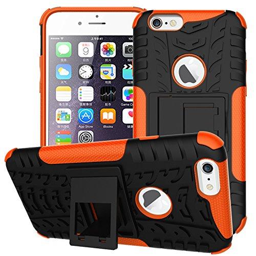 NEWSTARS Coque de protection en plastique double couche avec support Motif pneu Bonne prise Pour Apple iPhone 66S 11,9cm + 1protection d'écran en verre trempé + 1stylet Rose orange