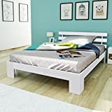 Anself Holzbett Doppellbett Bettgestell Gästebett Bett aus Holz 200 x 140 cm Weiß