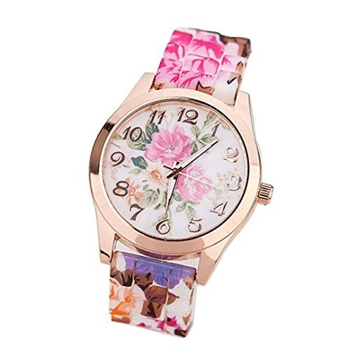 Yogogo Frauen Mädchen Uhr , Silikon Gedruckt Blume Kausalen Quarz Armbanduhren (Pink)