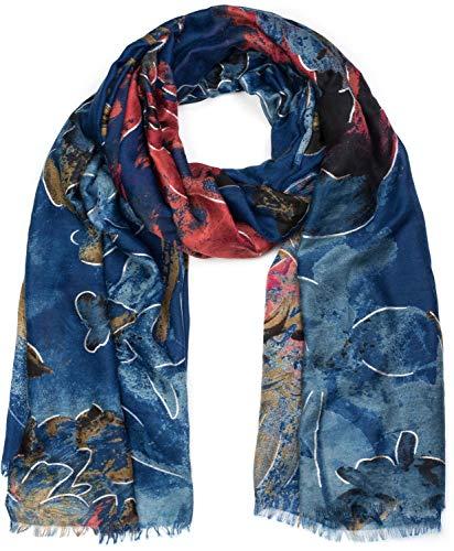 styleBREAKER Sciarpa da donna con motivo floreale astratto e frange stola foulard 01017094 coloreBlu scuro rosso beige