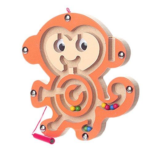 Eliasan Magnet Labyrinth Holz Puzzle Stift Fahren Perlen Magnetspiel niedlichen Tier Holzspielzeug für Kinder pädagogisches Spielzeug für Jungen Mädchen über 3 Alter (Magnet-labyrinth Puzzle)