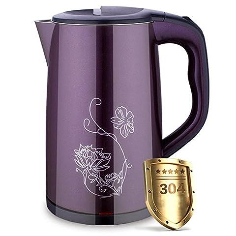 Edelstahl Wasserkocher Automatische Abschaltung von Anti-Heiß-Edelstahl Doppelschicht Isolierter elektrischer Wasserkocher , purple