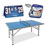 3 teiliges Tischtennis Set XL, Schlägerausrüstung 2 Sterne mit 2 Tischtenniskellen, 3 Bällen und Netz, Indoor Tischtennisplatte für Ping-Pong, Zählgerät