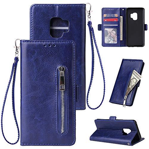 FNBK Kompatibel mit Hülle Samsung Galaxy S9 Handyhülle Leder Handytasche Reißverschluss Brieftasche Flip Case Slim Luxus Schutzhülle Handschlaufe Kredit Karten Magnetische Ständer,Blau