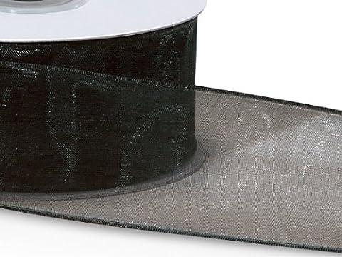 Black Wired Encore Sheer Ribbon1-1/2 inch X 25 Yds 100% Nylon