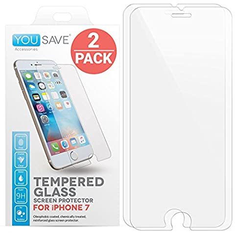 iPhone 7 Screen Protector [2 Pack], by Yousave Accessories [Tempered Glass] [3D Touch Compatible] 0.3mm Thickness / 9H Hardness Rating