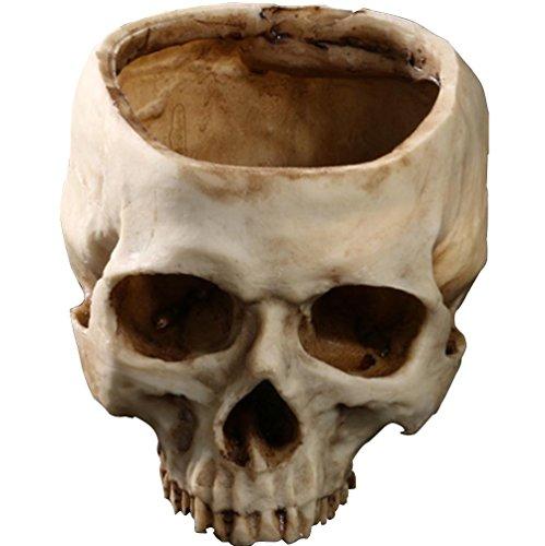 JIUQING skull skulpturen deko halloween menschlichen schädel blumentopf für hause dekoration Beige