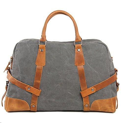Etasche Damen Herren Vintage Canvas Weekender Tasche Canvas Reisetasche Vintage Sprottasche (Grau) Grau