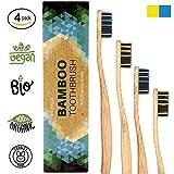 Cepillo de dientes de Bambú ecológico - vegano - biológico eco, sin BPA, 4 pack