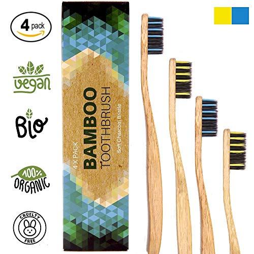 Bambus Zahnbürsten Biologisch Abbaubar Holzzahnbürste -4pcs Mittel bis Weich, 100% frei von BPA und BPS, Borsten mit Bambus-Holzkohle, Bamboo Toothbrush
