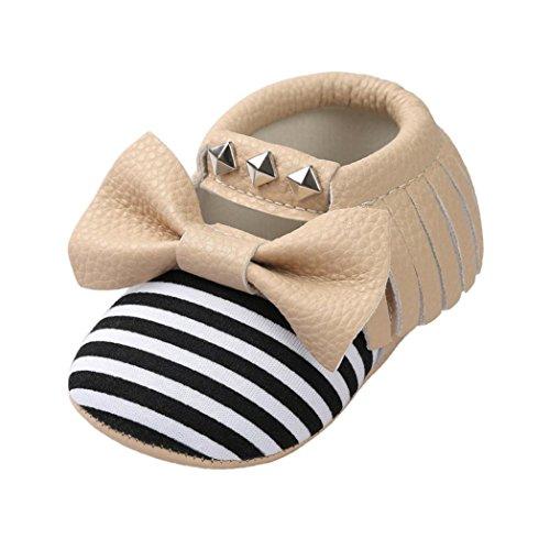Culater® Bambino Bowknot Banda Rivet Delicatamente Solo Scarpe da Tennis Pattini Casuali (12~18 Month, Cachi)