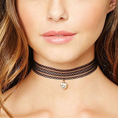 Tpocean Spitze Tätowierung Elastische Schwarze Choker Halskette mit Rhinestone Anhänger