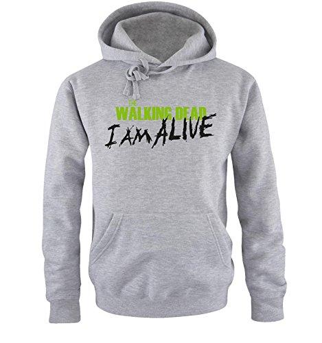 Comedy Shirts - The Walking Dead - I AM ALIVE - Uomo Hoodie cappuccio sweater - taglia S-XXL different colors grigio / nero-verde