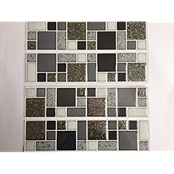 Glitter Mosaic Tile Stickers Available In 3 Colours Gold