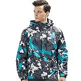 Btruely Mantel Herren Slim Fit Sturmmantel Camouflage Jacke Wasserfester Mantel Groß Größe Kapuzenmantel Wasserdicht Winddicht Übergangsjacke