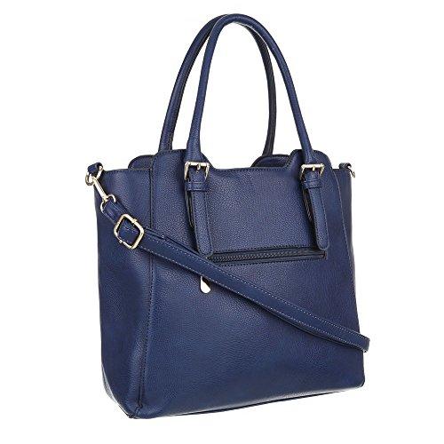 Damen Tasche, Schultertasche, Mittelgroße Handtasche, Kunstleder, TA-K75 Blau