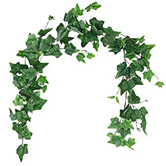 Aisamco Artificial Colgante Ivy Hojas Vines Ramitas Falso Seda de Seda Plantas Hojas Guirnalda Cuerda 5.7 pies en Verde para decoración de Bodas al Aire Libre al Aire Libre Guirnalda Verde