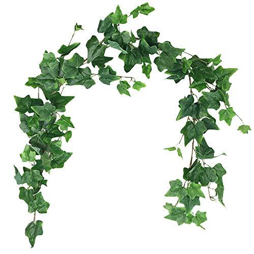 Aisamco Piante di Vite Artificiali Fiori Finti Begonia Ghirlanda Appesa 1.7m Foglie Falso Appeso Pianta di Vite per Festa di Nozze di Casa Giardino Decorazione da Parete Esterna Coperta