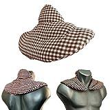 Almohada para el cuello | marrón-blanco | Semillas de lino | Cojín para la cerviz con cuello levantado en forma de herradura| Paquetes de calor