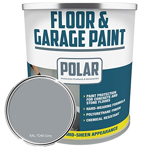 Polar Heavy Duty Garage Floor Paint Grey 5 Litre for Concrete and Stone Floors, High Performance Paint Protection, Hard Wearing Mid-Sheen Finish and Slip Resistant - Light Grey
