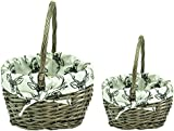 east2eden Set of 2 Mini Brown Wicker Shopping Basket Shopper Storage Display & Stag Lining
