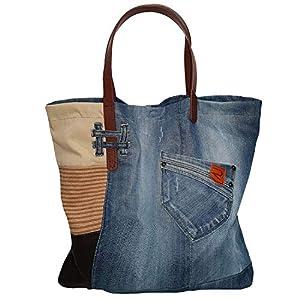 Canvas Tasche Shopper Damen Groß Denim Schultertasche Damen Ledergriffe Tote Bag Arbeitstasche Damen Blau Beige Shopping Bag Moderne Handtasche Damen aus Jeansstoff