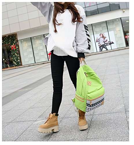 Fashion Mädchen Schulrucksack Damen Canvas Rucksack Teenager Baumwollstoff Schultasche Outdoor Freizeit Daypacks mit Schicker Lace grüne