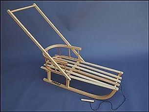 FKL Holzschlitten mit Rückenlehne, Kissen und Schieber, Schlitten Sitzfläche Kinderschlitten Schlitten Rodeln Zugseil Fußsack Wolle Polar
