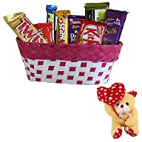 Valentines Day Chocolate Gift | Valentine's Day Gift Combo for Him, Her, Husband, Wife, Loved Ones, Girl Friend | Valentine Heart Teddy Bear | Valentine Chocolate Hamper | 1101