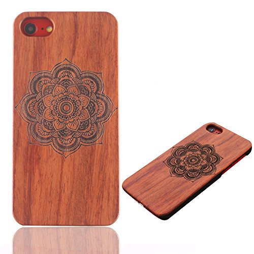 Legno Naturale Case Cover per iphone 7 Plus /iPhone 7+ (5.5 Pollici), Vandot scratch resistantAdvanced vero legno Wooden Intaglio Pattern Legno Naturale Back Cover shock-absorption Nero Opaco Shell ha Designo 31