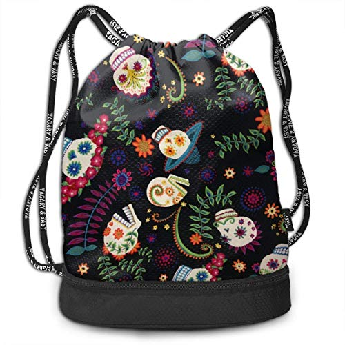 MLNHY Lightweight Waterproof Large Storage Drawstring Bag for Men & Women - Funny Sugar Skull Flowers Cinch Backpack Sackpack Tote Sack