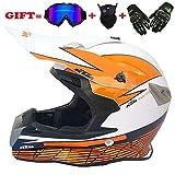 Motocross Motorradhelm für Erwachsene und Cross Country MX-Offroad-Motorrad für Erwachsene (Handschuhe, Brille, Maske, 4er-Set),White,XL
