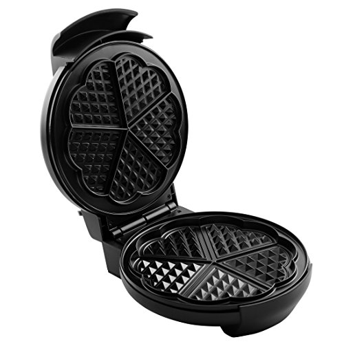 Sokany Non-Stick 5-Heart Waffler Iron Griddle with Adjustable Temperature Control (Black)