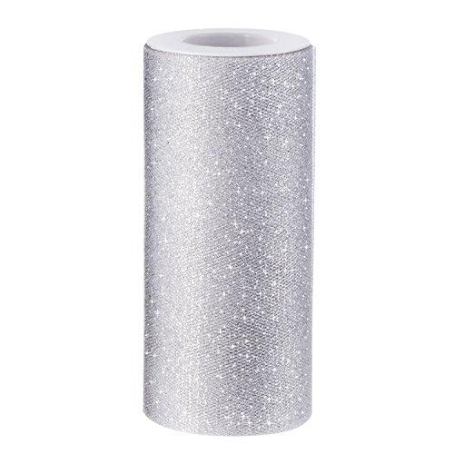 Glitter Tüll Silber (Sparkling Tulle Ribbon Roll Glitzer Tüll Spule, 6 Zoll x 25 Yards, Silber)