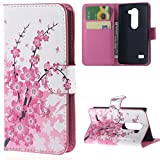 LG Leon 4G LTE Handyhülle ,Rosa Blume Muster PU Leder
