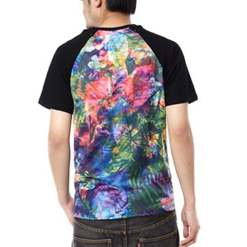 Pizoff Unisex Hip Hop Kurz Schwarz T Shirt mit Ziffer Druckmuster Metall Stern XK037