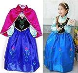 Disfraz Elsa Anna Frozen con Varita Y Corona (Talla 120 (4-5 años))