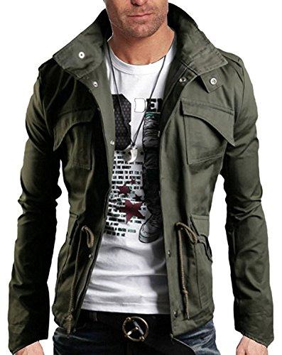 Minetom Frühling Herbst Herren Slim Fit Jacke Übergangsjacke Modern Freizeit Mantel Zip Jacket