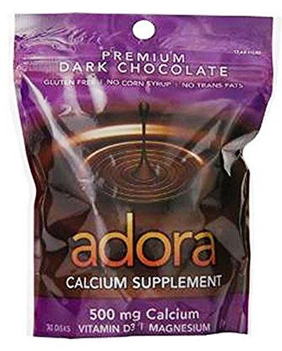 Adora - Magnesio scuro organico del cioccolato di supplemento 500 del calcio. - 30 Conteggio