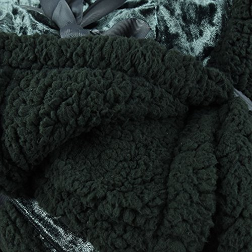 Luxury Crushed Velvet Soft Touch Plush Sherpa Reverse Fleece Blanket Sofa Bed Throw Ribbon Gift Wrapped – ASAB – 150 x 200 cm – Charcoal
