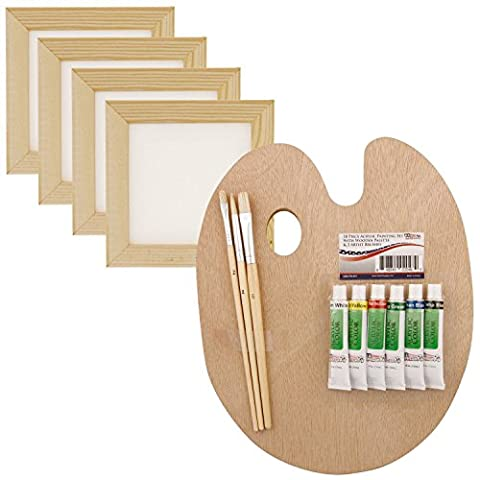 US Art Supply 14-Piece 3x3 White Mini Canvas & Natural Wood Frame Painting Set with 6-Color Acrylic Paint, Brushes & Wood Palette by US Art Supply