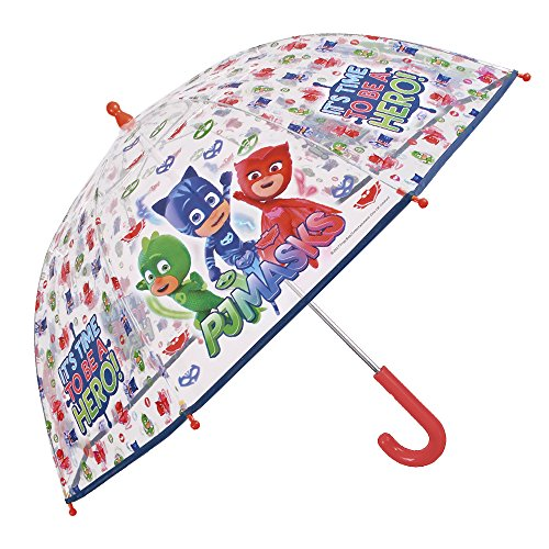 PJ Masks Kinder Schirm - Pyjamahelden Transparenter Stockschirm - Robuster und Windfester Regenschirm - 3 bis 6 Jahre - Durchmesser 78 cm - Perletti