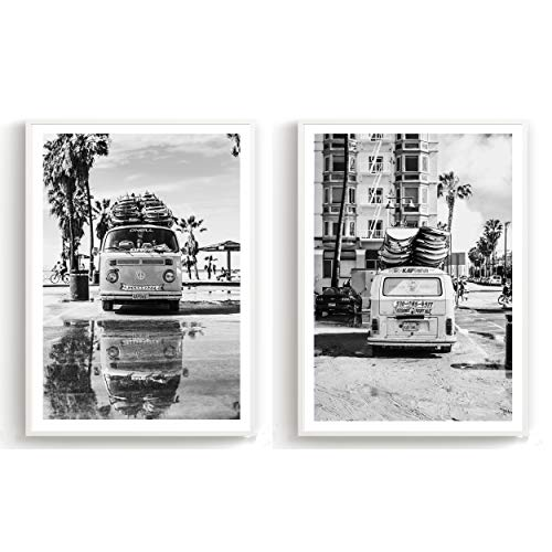 Flanacom Design-Poster Hochglanzdruck 2er Set A3 Skandinavisch - schwarz weiß Kunstdruck Premiumpapier Deko Wohnung Modern 29,7x42cm - Motiv Strand Palmen Surfer Bus (mit Rahmen)