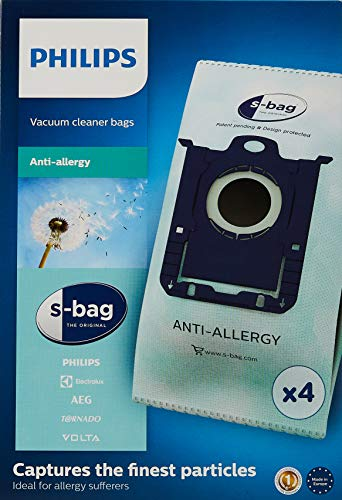 Philips Bolsas para aspiradores FC8022/04 FC8022/04-4 S-Bag antialergias, Azul