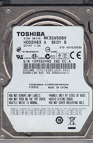 Notebook 320GB Toshiba MK3265GSX HDD2H83 SATA ID13370 320 Gb Sata Notebook