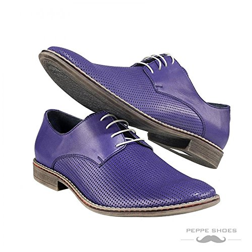 Modello Brindisi - 45 UE - fatti a mano scarpe di cuoio italiane colorate Oxfords (Brindisi Sposa Sposo)