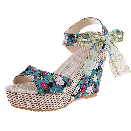 Damen Sandalen Ronamick Frauen Blume Peep Toe Wedges schnüren sich oben dicke Flatform Schuhe Sandalen (37, Blau) -